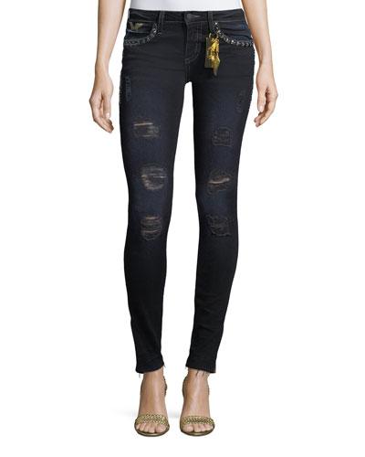 Marilyn Distressed Studded Skinny Jeans w/ Zip Cuffs