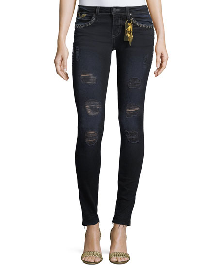 Robin's Jeans Marilyn Distressed Studded Skinny Jeans w/