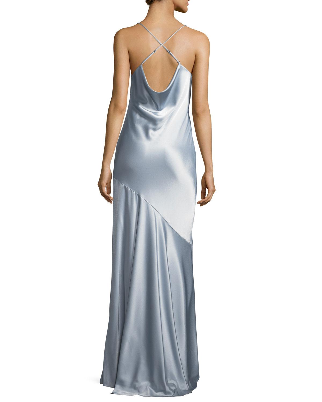 Halston Heritage Bias-Cut Satin Evening Gown | Neiman Marcus