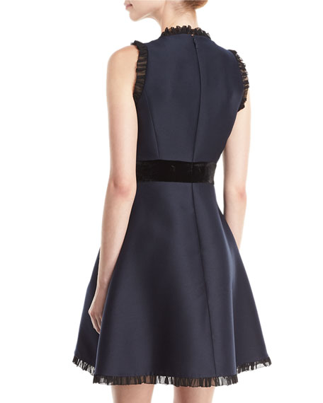 velvet-bow fit & flare sleeveless cocktail dress
