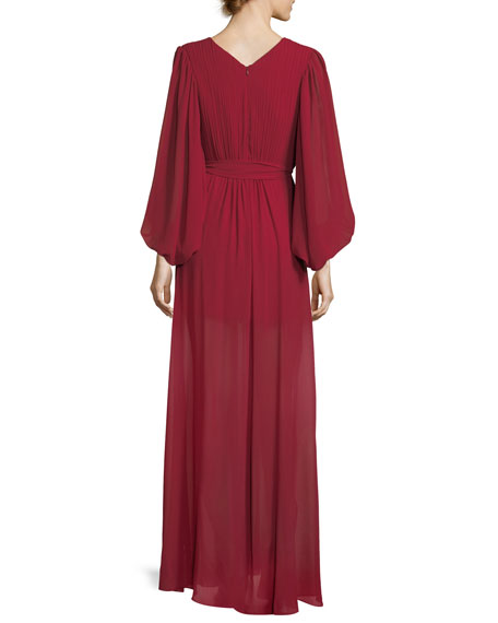 Plisse Full-Sleeve Evening Gown