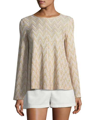 Metallic-Knit Jersey Swing Top