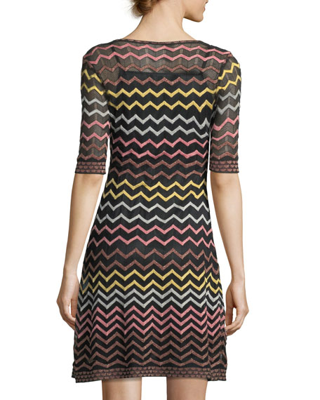 Multicolor Zigzag-Print Half-Sleeve Dress