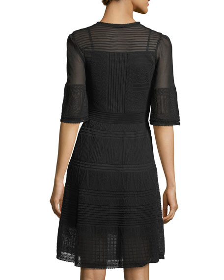 Half-Sleeve Rib-Stitch Dress