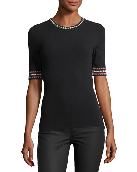 Geometric-Trim Short-Sleeve Top