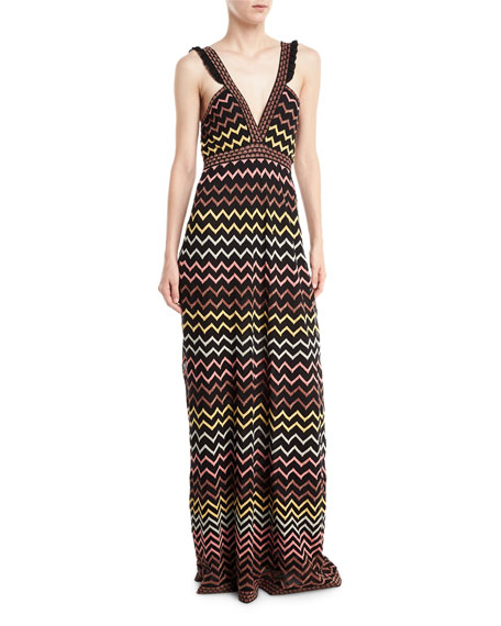 M Missoni Multicolor Zigzag-Print Maxi Dress