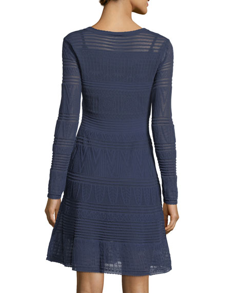 Rib-Stitch Long-Sleeve Dress