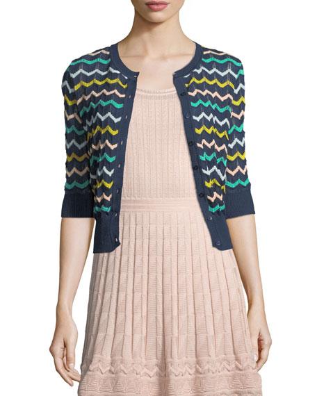 Zigzag-Knit Short-Sleeve Cardigan