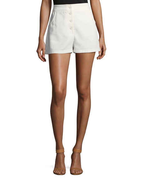Button-Front Solid Cotton Shorts