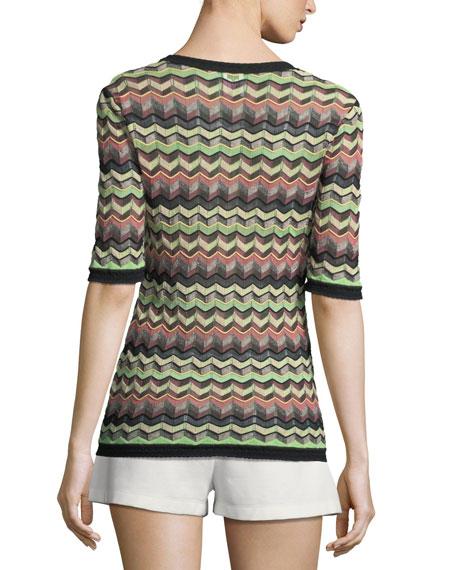 Zigzag-Print Half-Sleeve Top