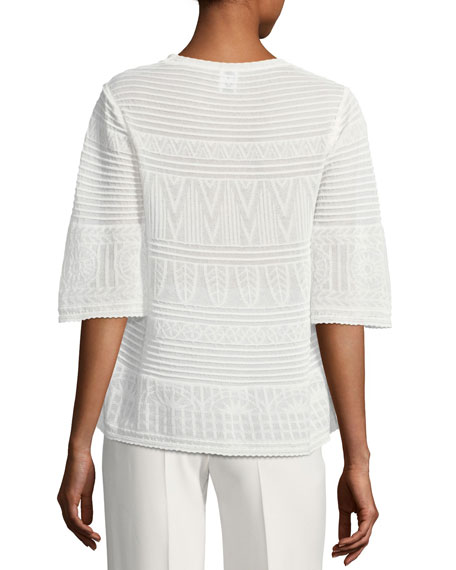 3/4-Sleeve Rib-Stitched Top