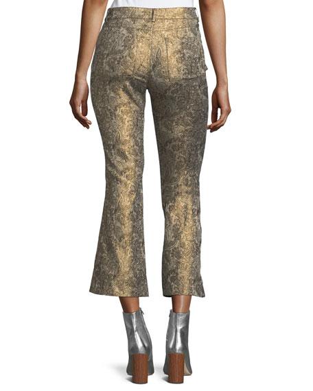 Drew Metallic Jacquard Cropped Bell Pants
