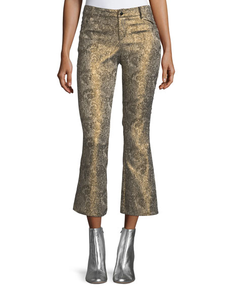 Alice + Olivia Drew Metallic Jacquard Cropped Bell