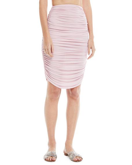 Shirred Knee-Length Skirt