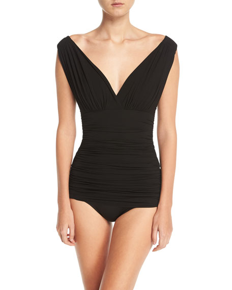 Norma Kamali Tara Mio V-Neck Solid One-Piece Swimsuit