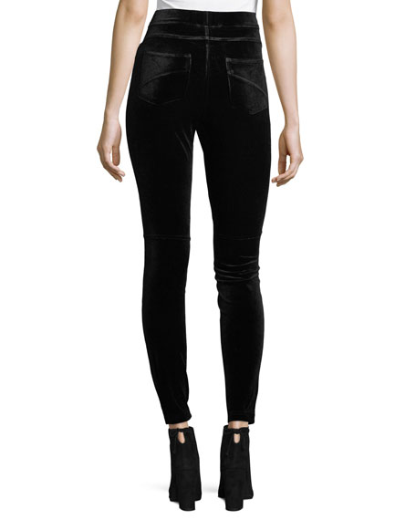 High-Waist Velvet Leggings