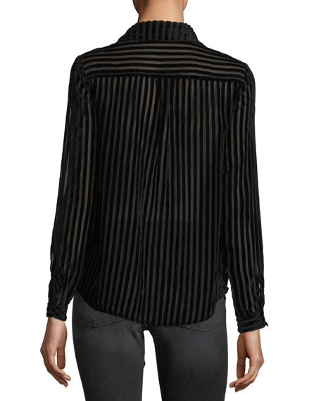 Striped-Velvet Burnout Blouse