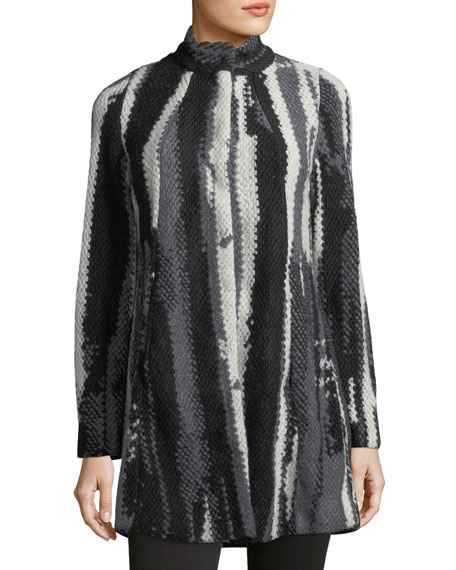 Abstract Striped Stand-Collar Jacket