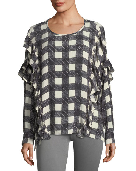 AG Bijou Round-Neck Check-Print Blouse w/ Ruffled Trim