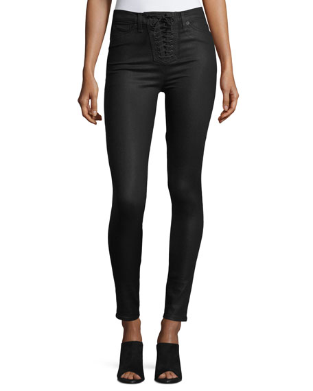 Hudson Bullocks Lace-Up High-Rise Super Skinny Pants