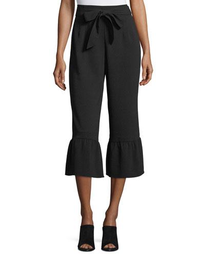 Truleen Straight-Leg Cropped Pants w/ Ruffled Cuffs