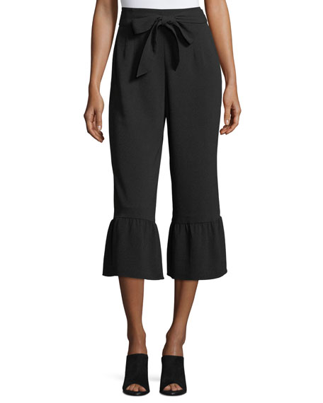 Truleen Straight-Leg Cropped Pants w/ Ruffled Cuffs
