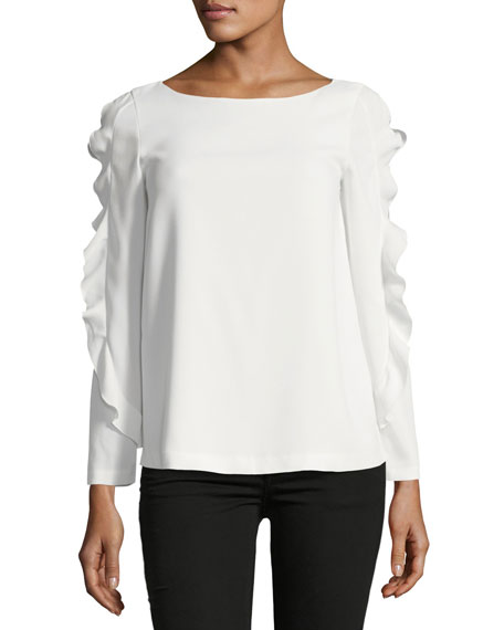 Club Monaco Belise Boat-Neck Ruffled Sleeves Crepe Top