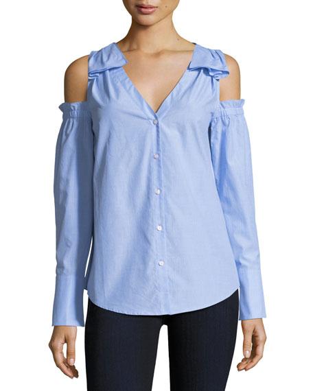 Club Monaco Shiyah Split-Neck Cold-Shoulder Poplin Shirt