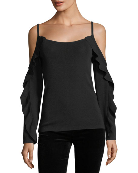 Club Monaco Lesley Cold-Shoulder Sweater w/ Ruffled Frills