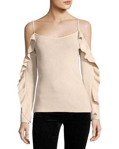 Lesley Cold-Shoulder Ruffle-Sleeve Crepe Top