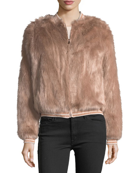 Letterman Faux-Fur Bomber Jacket