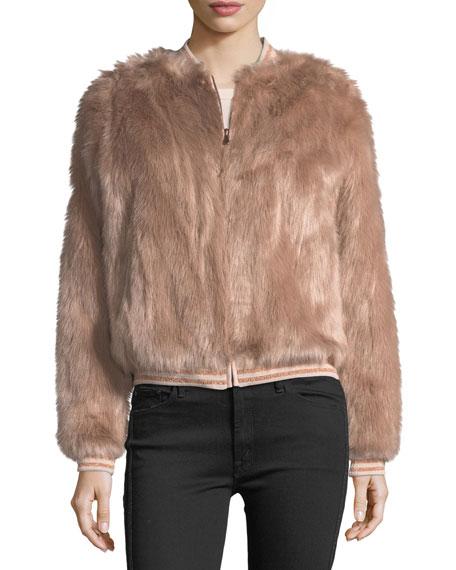 Letterman Faux-Fur Bomber Jacket