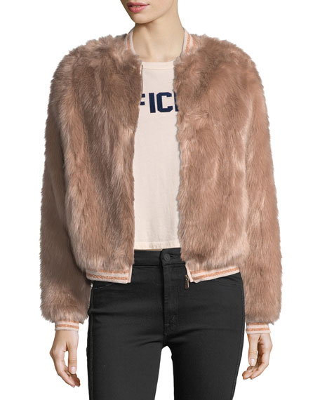 Mother Denim Letterman Faux-Fur Bomber Jacket