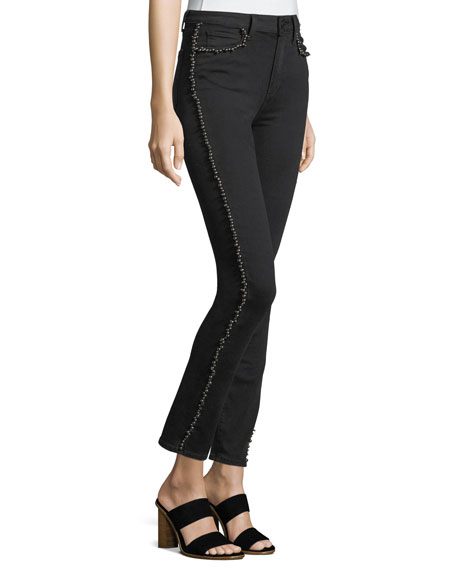 Hoxton Straight-Leg Ankle Jeans w/ Studded Trim
