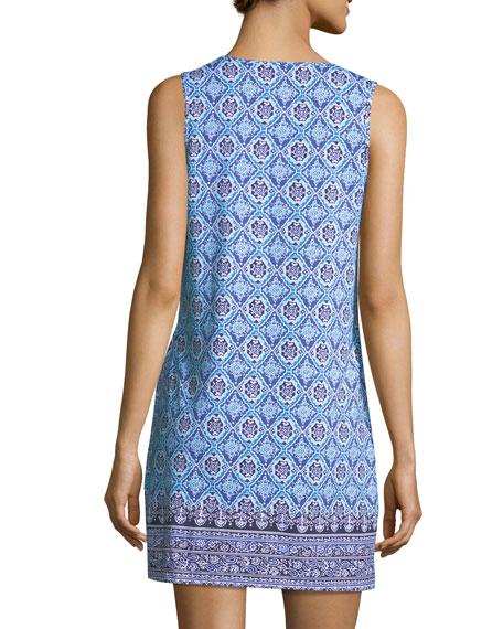 Tika Tiles Split-Neck Swim Dress