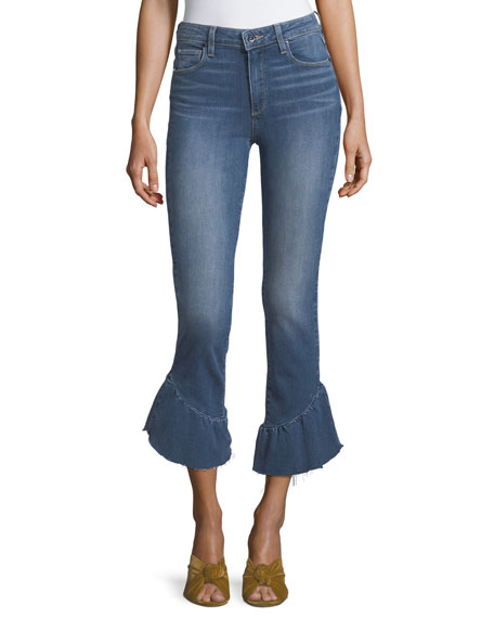 PAIGE Flora Straight-Leg Jeans w/ Released Ruffled Hem