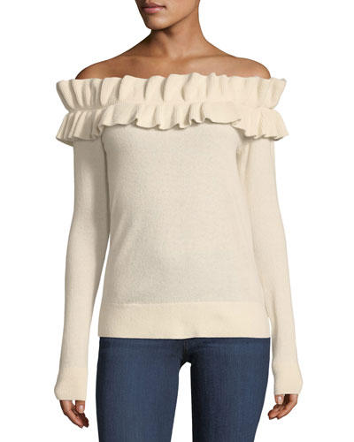 Perrinney Off-the-Shoulder Cashmere Pullover Sweater
