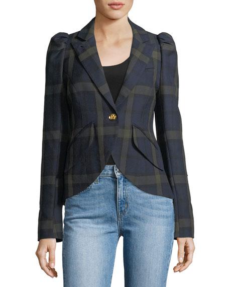 Smythe Pouf-Sleeve One-Button Plaid Blazer