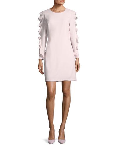 Clayre Jewel-Neck Long-Sleeve Sheath Dress w/ Ruffled Trim