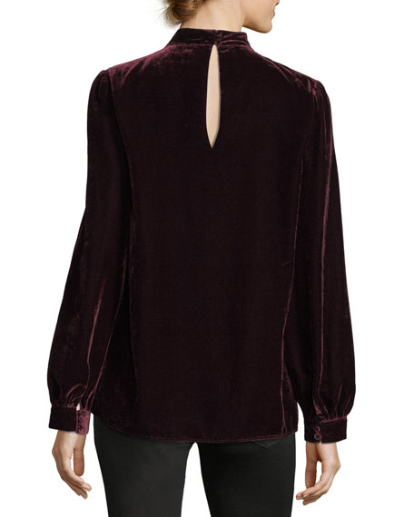 Tamar Choker V-Neck Long-Sleeve Velvet Blouse