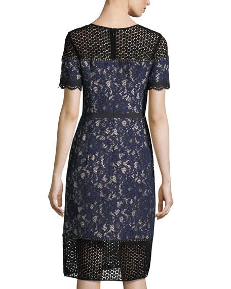 Aknar Crewneck Short-Sleeve Lace Dress w/ Guipure