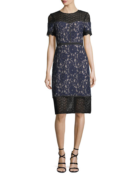 Aknar Crewneck Short-Sleeve Lace Dress w/ Guipure