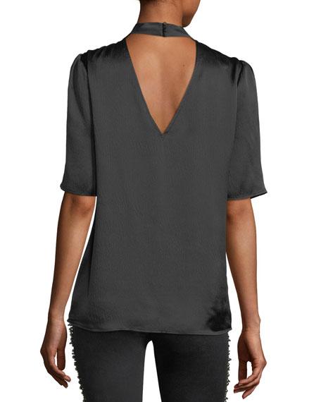 Cateline V-Neck Short-Sleeve Satin Blouse