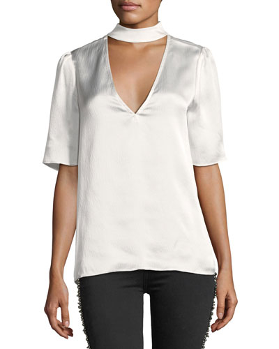 Cateline Collared V-Neck Silk Blouse