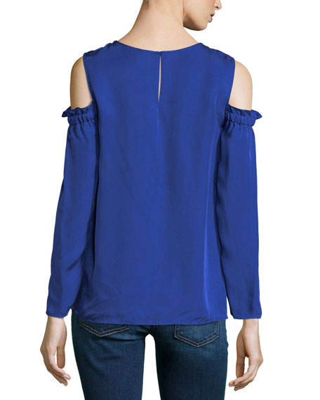 Nyelli Crewneck Cold-Shoulder Crepe Top