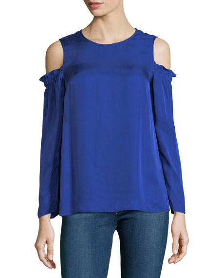 Club Monaco Nyelli Crewneck Cold-Shoulder Crepe Top