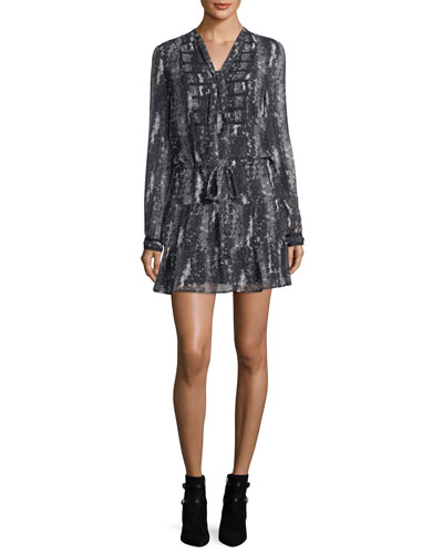 Keiko Tie-Neck Long-Sleeve Printed Dress