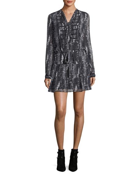 Keiko Tie-Neck Long-Sleeve Printed Dress