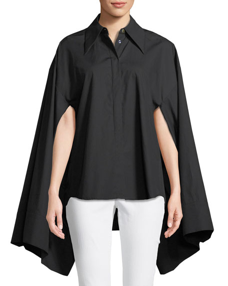A.W.A.K.E. Button-Front Kimono-Sleeve Cotton Shirt