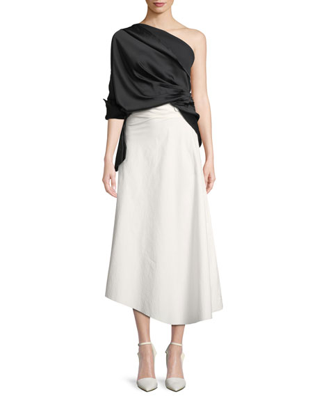 High-Waist Cotton Poplin A-Line Skirt